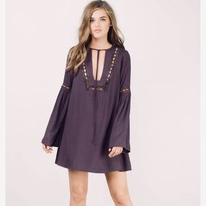 Purple long-sleeved dress